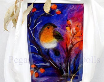 Wool Painting /winter/ Bird/Fiber Art - Gift /ready to ship, freamed ready to hang (Waldorf, Steiner)