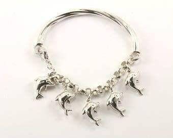 Vintage Dolphins Chain Bracelet Sterling Silver BR 379