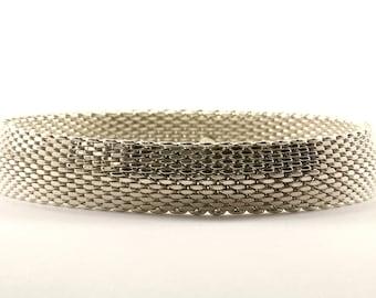 Vintage Mesh Design Bangle Bracelet Sterling Silver BR 537