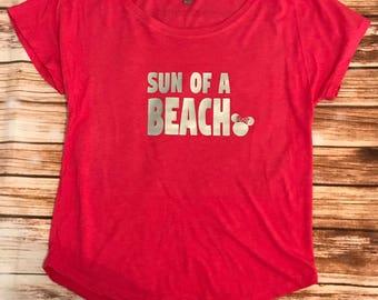 Women's Sun of a Beach Relaxed Fit Tee- Disney