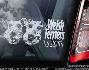 Welsh Terriers on Board - Car Window Sticker - Welshie Terrier Dog Sign Decal - V02