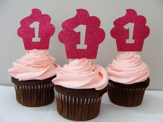 1st Birthday Cupcake Topper Birthday Party Decorations Cupcake