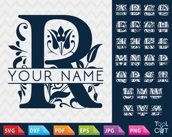 Regal Monogram Font Svg Split Alphabet Svg Regal Initials Svg Split Monogram Font Svg Cuttable Split Letters Svg Cricut Fonts Dxf Silhouette