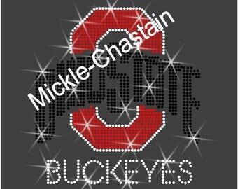 "Rhinestone Transfer ""Ohio State Buckeyes"" Hotfix , Iron On, Bling"