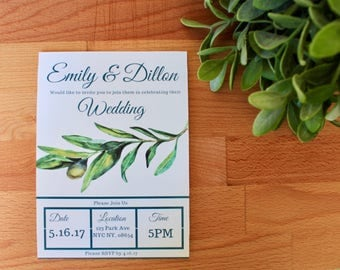 PRINTED Greenery Wedding  Invitation, Digital Or Printed Wedding Invitation, Custom, Palm Leaf, Wedding Invitations, Printable