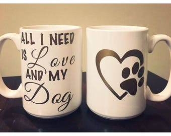 Love and My Dog or Cat - Set of 2 Mugs