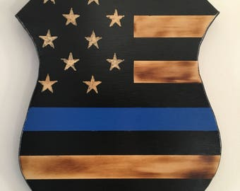 Thin blue line wood police badge cut out
