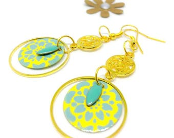 "Sequin motif earrings ""turquoise / gold"""