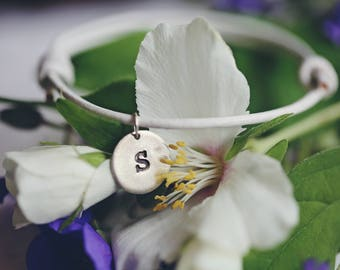 Bridesmaids Initial Charm, handmade in pure silver on a white adjustable genuine leather bracelet.