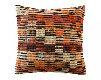 "Shaggy Tulu Pillow, Kilim Pillow, Boho Pillow, Tribal Pillow, Aztec Pillow, Shabby Chic, Throw Pillow, Ikat Pillow  40x40 cm / 16"" x 16"