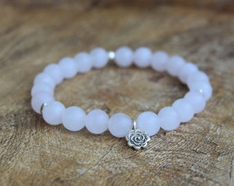 Frosted Rose Quartz / Mala Bracelet / Yoga Jewelry / Hill Tribe Silver / Dahlia Charm / Pink Crystal Bracelet / Sterling Silver