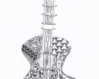 Zentangle art - guitar - printable card art for all occasions