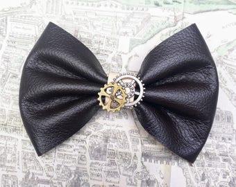 leather bow hair clip steampunk gear