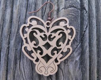 Wooden dangel earrings with heart shape, lightweight, 40×40 mm