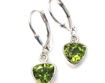 Peridot earrings lever backs handmade in bali august birthstone gift dainty sterling silver real stones peridot 925 silver