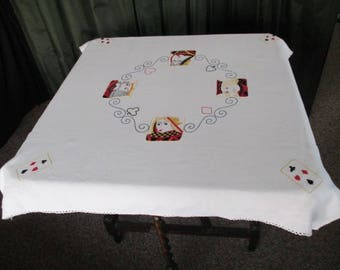 Vintage Playing Card Games Tablecloth-Bridge/Poker - Hand Embroidered with Playing Cards - Linen - 1950s