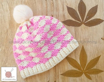 Crochet Hat, Pink and Cream Hat, Hat Winter Accessories