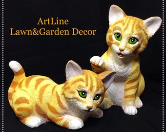 Vintage Art Line Inc. Lawn&Garden Collectible 1993 Orange Tiger Cats, ArtLine Model 6030 Two Cat Set Garden Decor, 90s Art Line Animals