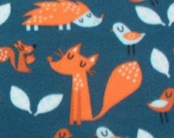 Sleepy Woodland Animals Printed Fleece Tied Blanket