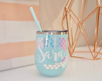 Personalized Mermaid Steel Wine Tumbler - 20 oz | Mermaid Scales | Bridesmaid Proposal Gift | Bachelorette Girls Night Out | Wine Glass