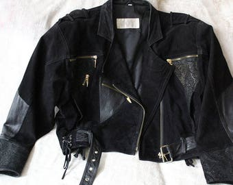 Vintage leather jacket, biker style
