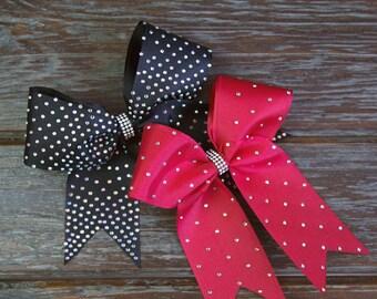 Hair Bows Cheerbow. Rhinestone. Diamante.sparkly loop hair bows. Bright. Glitter.Red. Black cheer bow. Monkey girl.