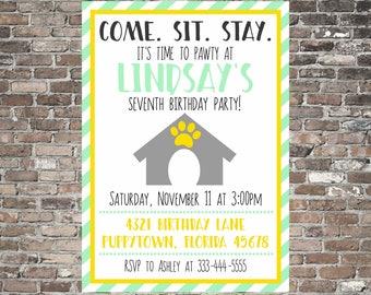 Birthday Pawty Invitation ~ Puppy Invite ~ Dog Theme ~ Custom | Printable | Simple | Fun | Animals | Kids Children Party ~ Little Girl Boy