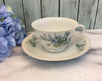Purple Hyacinths by Grantcrest China Tea Cup and Saucer Delicate Blue Florals Handpainted Japan Made teacup