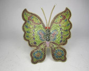 "Large 6"" Chinese Plique a Jour BUTTERFLY"