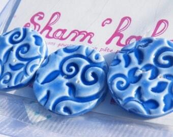 Blue flower buttons - polymer