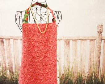 Red, White and Green with Strawberries Reversible Apron with Pockets