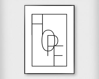 Hope Print | Typography | Black and White | Minimalist - Abstract - Poster