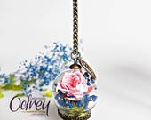Botanical jewelry, terrarium, forever, pink pendant necklace, flower, lucky charm, rearview car decoration