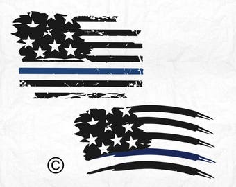 American flag svg, Thin blue line svg, Distressed svg, Police svg, SVG Files, Cricut, Cameo, Cut file, Files, Clipart, Svg, DXF, Png, Eps