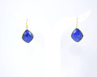 Sapphire kite shape earrings, diamond earring , sapphire earring, gold plating earring,  gemstone earring, blue color earring, sapphire