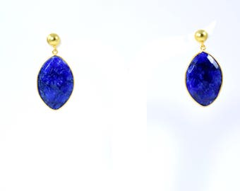 sapphire earring , gemstone stud, natural stone earring , marquise earring,blue  color stud , drop earring,sapphire jewelry ,September stone