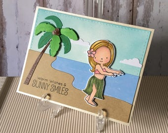 Warm wishes , sunny smiles , beautiful ,greetings , hand made, card, sea, beach,