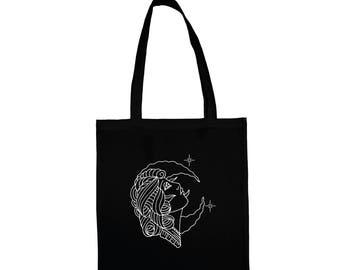 Moon bag, moon tattoo, girl in the moon, tattoo art, tattoo bag, classic tattoo art, gift for tattoo lovers, organic cotton tote, tote bag