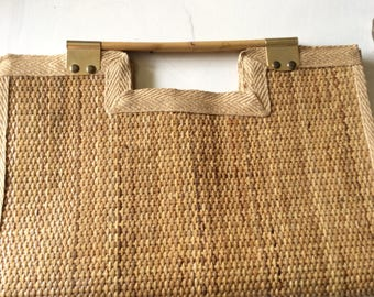 Vintage wicker handbag with bamboo handles and brass hardware