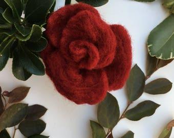 Rose Flower Brooch, Handmade Rose Flower, Gift, Felted Flower, Hand Felted Brooch, Wool Jewelry felted brooch, Wool Accessorie, Brooch