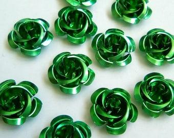 12 15x9mm green metal flower beads