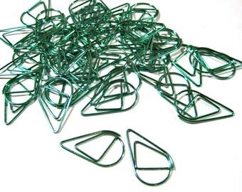 Green Teardrop Paper Clip - Teardrop Planner Clip - Teardrop Paper Clip - Planner Accessory - Page Marker - 10 pcs