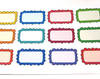 Planner Stickers - Erin Condren Stickers - Day Designer - Functional Stickers - Half Box Stickers - Scallop Boxes - Doodle Scallops