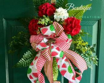 Summer Door Swag, Door Hanger, Silk Flower Door Hanger, Housewarming Gift