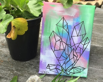 Small Crystal Tie Dye Painting