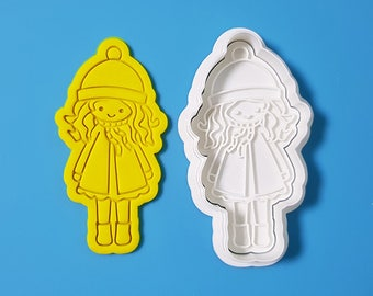 Girl Wearing Hat Cookie Cutter and Stamp