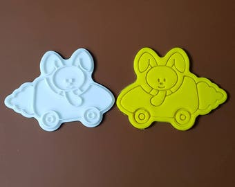 Bunny riding Carrot Car Cookie Cutter and Stamp