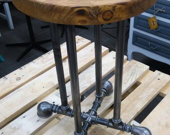 industrial stool, industrial pipe stool, pipe stool, metal stool, bar stool