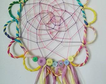 Flower dream catcher, colourful wall decor, wall art, flower art, colourful dream catcher