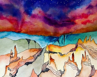 Desert watercolor / southwest decor / canyon / wanderlust / original painting / modern art